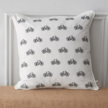 Embroidered Freedom Bike Toss Pillows-White