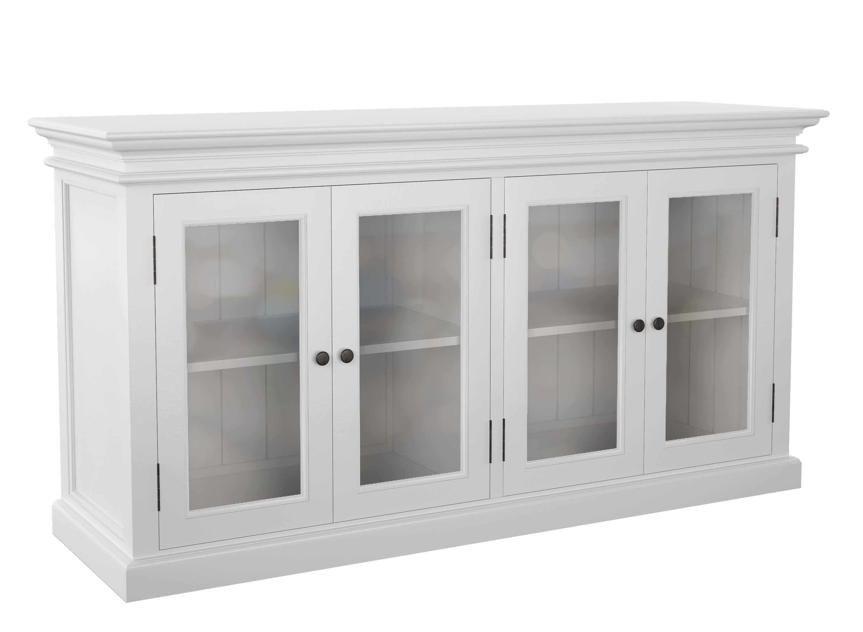 Armoire Comptoir De Famille copenhagen white buffet w/2 glass doors
