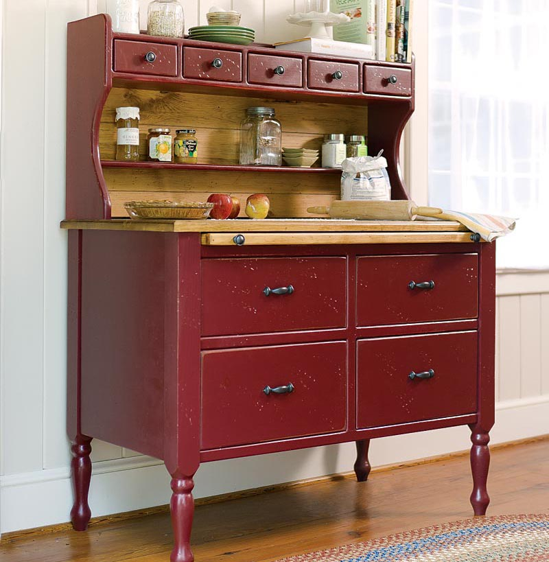 Southern Pine Baking Cabinet   Brick