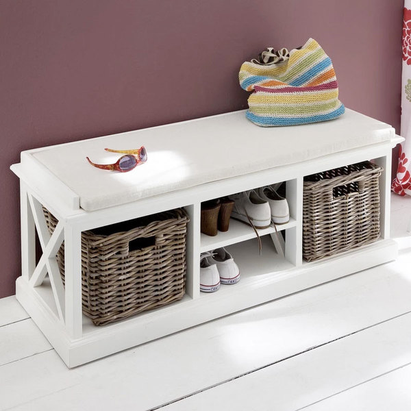 Bench with baskets in room setting