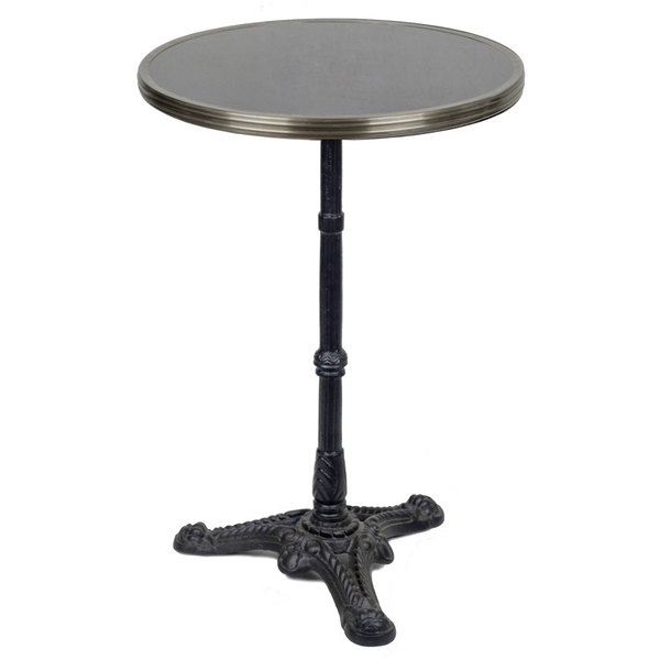 "20"" Black Granite Bistro Table with Cast Iron Base"