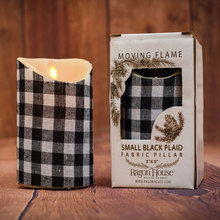 Small Black Check Moving Flame Candle w/timer