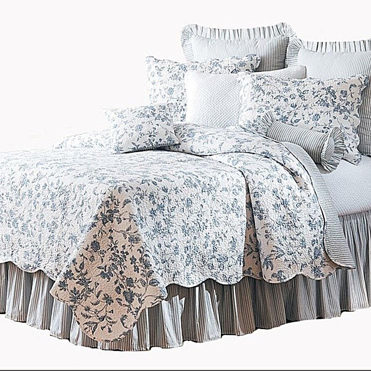 brighton blue toile quilt by c f american country