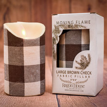 Small Dark Brown Check Moving Flame Candle w/timer (set of 2)