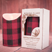 Small Buffalo Check Plaid Moving Flame Candle w/timer