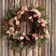 Burlap Holly & Evergreen Wreath - 50% OFF