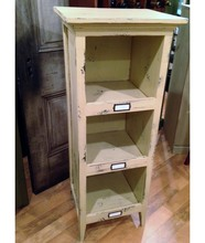 Three Cubby Wooden Storage Cabinet