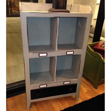 Four Cubby Wooden Cabinet with Drawer