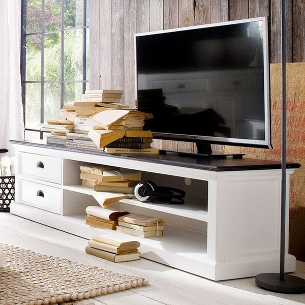 Entertainment center with black top