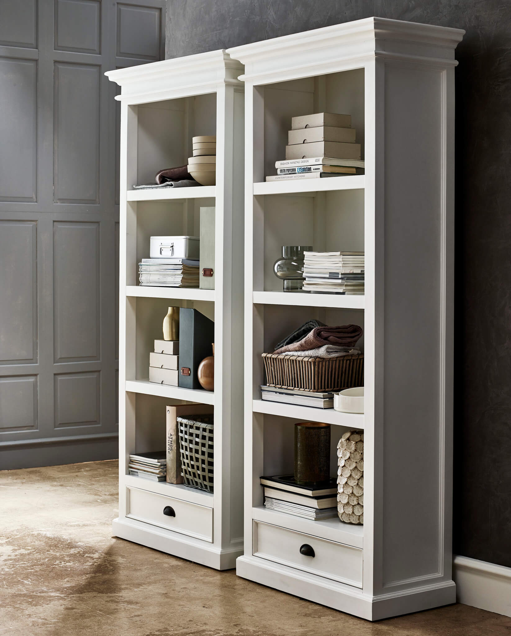 Copenhagen White Bookcase W 1 Drawer