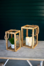 More about the 'Set Of Two Rectangle Rattan And Glass Lanterns' product