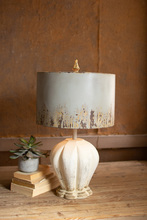 More about the 'Table Lamp With Painted Wooden Base & Grey Metal Barrel Shade' product