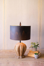 More about the 'Table Lamp With Natural Wooden Base & Dark Metal Barrel Shade' product