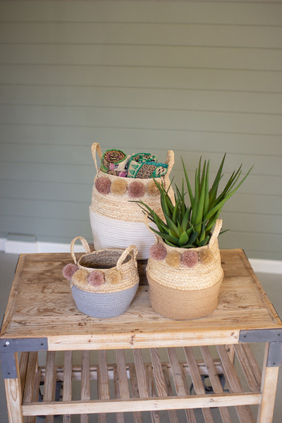 Set Of Three Seagrass And Cotton Folding Baskets With Pom Poms