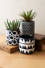 More about the 'Set Of Three Navy Ceramic Pattern Planters' product