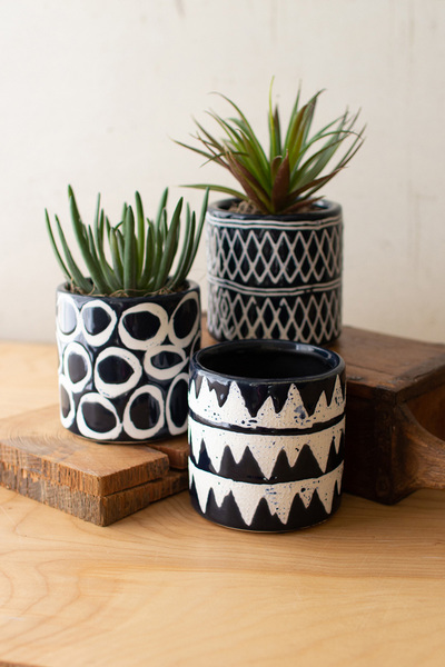 Set Of Three Navy Ceramic Pattern Planters