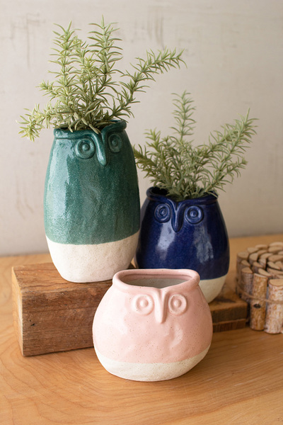 Set Of Three Ceramic Owl Planters