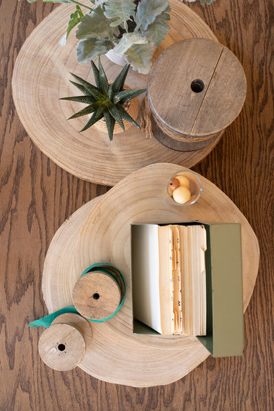 Set Of Three Wooden Slice Display Risers