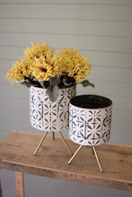 More about the 'Set Of Two Round Pressed Metal Planters On Stands' product