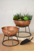 More about the 'Set Of Two Round Copper Finish Bowl Planters With Metal Stands' product