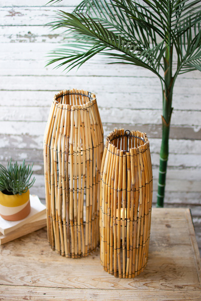 Set Of Two Tall Cane Lanterns With Glass Inserts