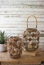 More about the 'Set Of Two Jute And Wire Lanterns With Glass Inserts' product