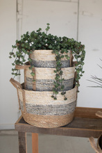 More about the 'Set Of Three Round Rush Baskets  -  Grey' product