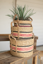 More about the 'Set Of Three Round Rush Baskets  -  Pink' product