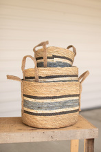 More about the 'Set Of Three Round Rush Baskets  -  Blue' product