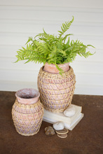 More about the 'Set Of Two White Washed Willow Wrapped Clay Urns' product