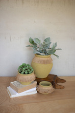 More about the 'Set Of Three Green Clay Flower Pots With Jute Collar' product