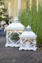 More about the 'Set Of Two Rustic White Wooden Lanterns' product