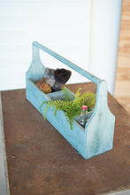 More about the 'Wooden Turquoise Five Pocket Trug' product