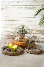 More about the 'Set Of Three Wire Cloches With Wicker Bases' product