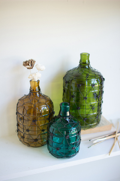 Set Of Three Wire Wrapped Glass Jugs