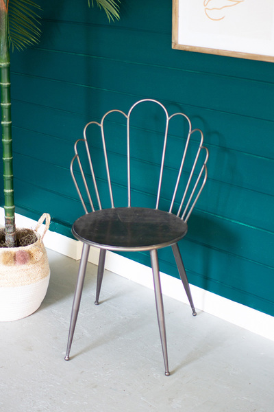 Metal Flower Back Accent Chair