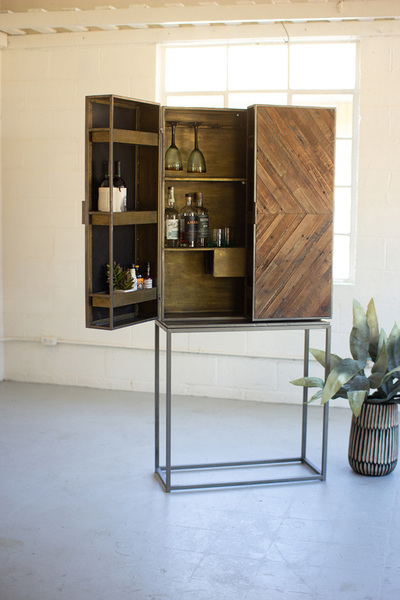 Two Door Recycled Wood And Metal Bar Cabinet On A Stand