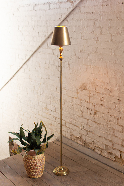 Antique Gold Table Lamp With Metal Shade