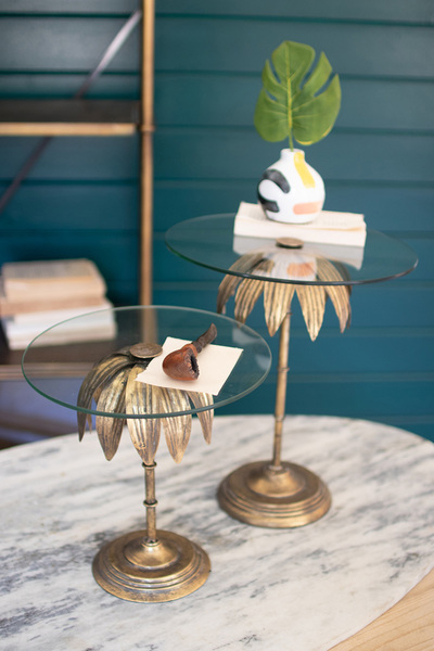 Set Of Two Palm Tree Display Stands With Glass Tops