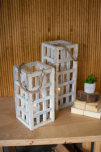 More about the 'Set Of Two White Washed Tall Square Recycled Wood Candle Towers With Glass Inserts' product