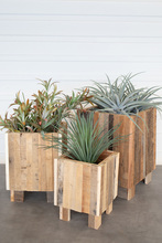 More about the 'Set Of Three Natural Recycled Wood Square Planters' product