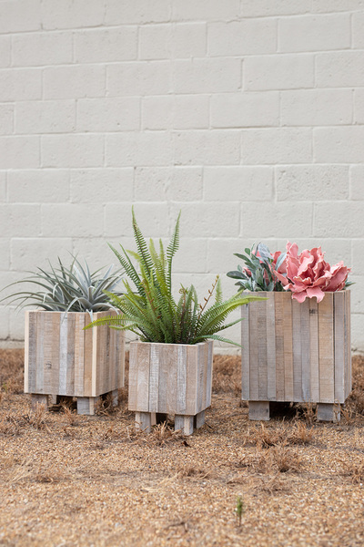 Set Of Three White Washed Recycled Wood Square Planters