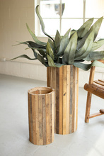 More about the 'Set Of Two Natural Tall Round Recycled Wood Planters' product
