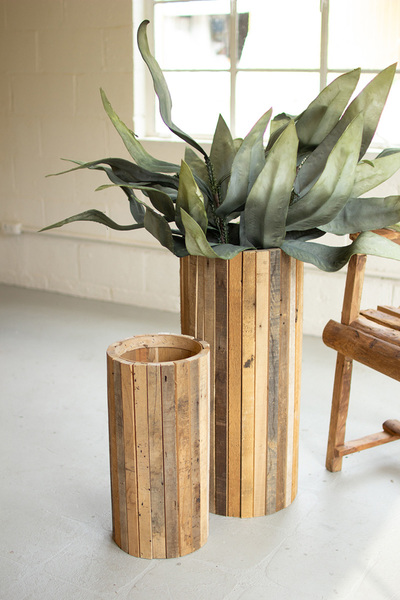 Set Of Two Natural Tall Round Recycled Wood Planters