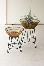 More about the 'Set Of Two Round Bamboo Baskets On Metal Stands' product