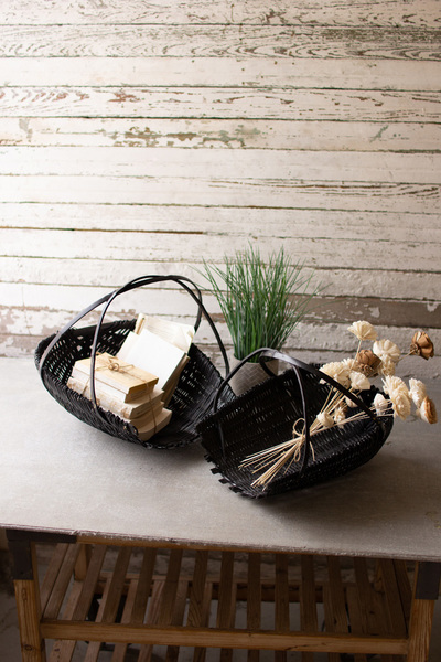 Set Of Two Black Bamboo Scoop Baskets