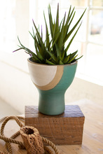 More about the 'Short White, Tan And Turquoise Ceramic Vase' product