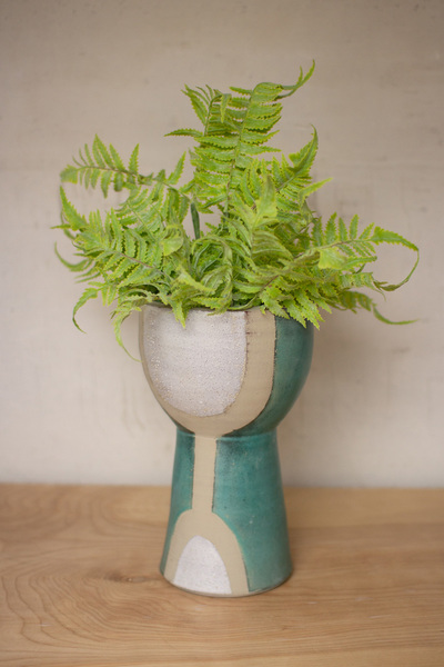 Tall White, Tan And Turquoise Ceramic Vase