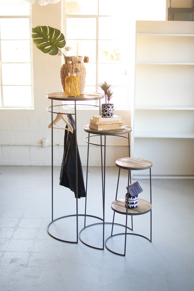 Set Of Three Tall Round Display Pedestals With Recycled Wood Tops