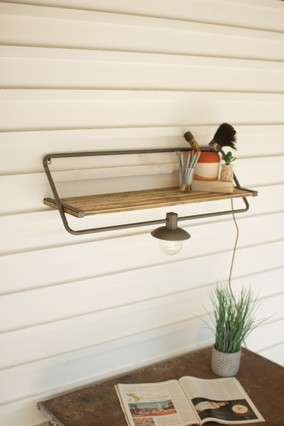 Wall Sconce Light With Recycled Wood And Iron Shelf